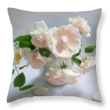 June Roses With Honeysuckle Throw Pillow by Louise Kumpf