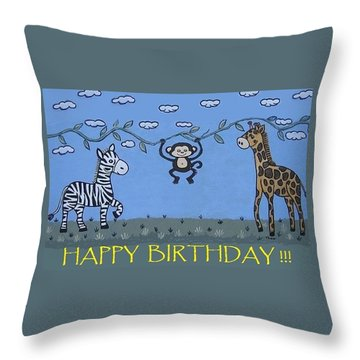 Jungle Animals Happy Birthday Throw Pillow by Suzanne Theis