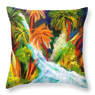 Jungle Falls Throw Pillow by Elizabeth Fontaine-Barr