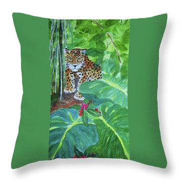 Throw Pillow featuring the painting Jungle Jaguar by Ellen Levinson