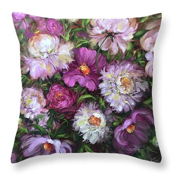 Jungle Love Peony Garden Throw Pillow