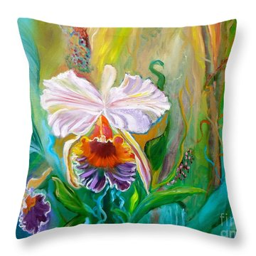 Jungle Orchid Throw Pillow
