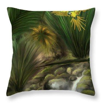 Throw Pillow featuring the digital art Jungle Parrot by Darren Cannell