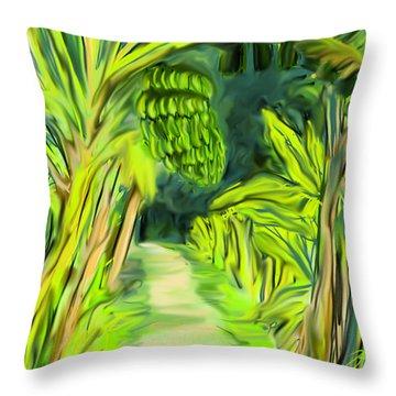 Jungle Path Throw Pillow by Jean Pacheco Ravinski