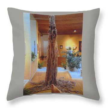 Throw Pillow featuring the sculpture Jungle Spirit by Bernard Goodman