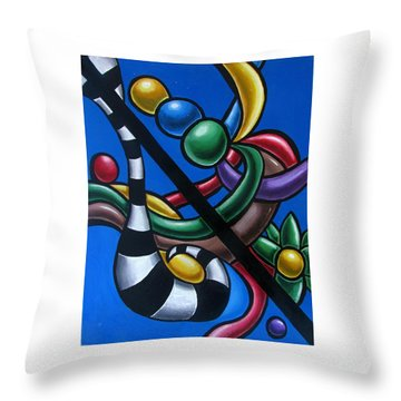 Colorful 3d Abstract Art Painting - Multicolored Original Artwork -tropical Throw Pillow