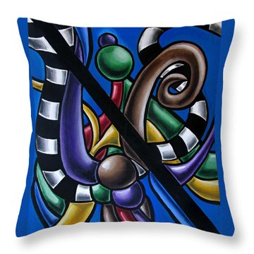 Colorful 3d Abstract Art Painting - Multicolored Original Artwork - Black And White Stripes Throw Pillow