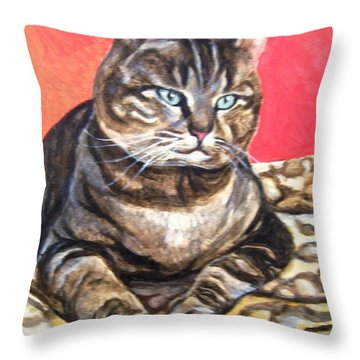 Throw Pillow featuring the painting Jungle Wannabe by Laura Aceto