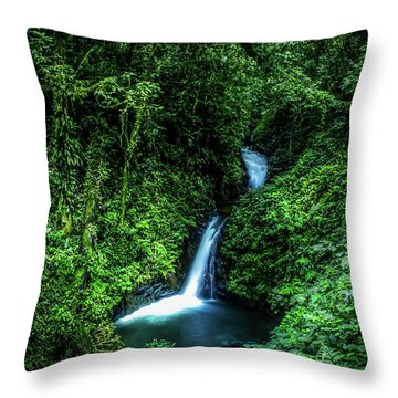 Jungle Waterfall Throw Pillow by Nicklas Gustafsson