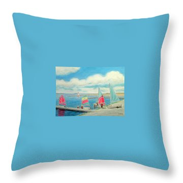 Junior Sailing School, West Kirby Marine Lake Throw Pillow by Peter Farrow