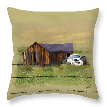 Throw Pillow featuring the painting Junk Truck by Susan Kinney