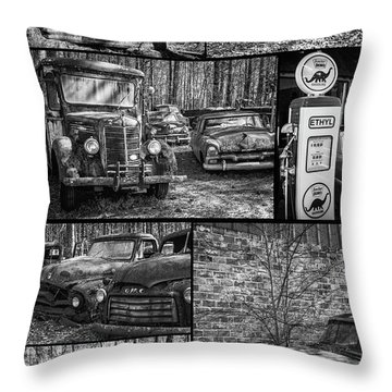 Junk Yard Cars Throw Pillow