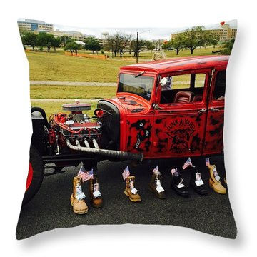 Throw Pillow featuring the photograph Junk Yard Dawg - No.2015 by Joe Finney