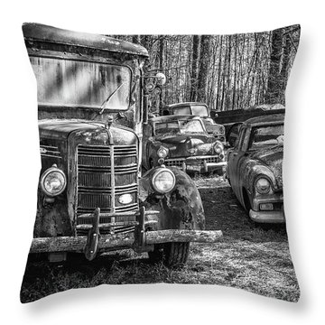 Junked Mack Truck Ad Old Plymouth Throw Pillow