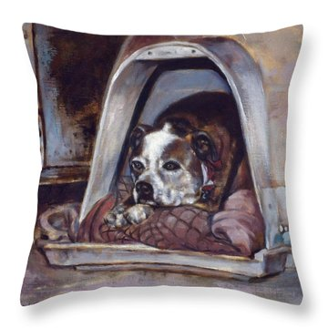 Throw Pillow featuring the painting Junkyard Dog by Harvie Brown