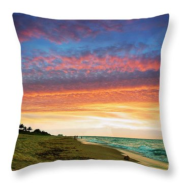 Juno Beach Florida Sunrise Seascape D7 Throw Pillow by Ricardos Creations