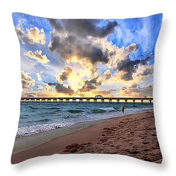 Juno Beach Pier Florida Sunrise Seascape D7 Throw Pillow by Ricardos Creations