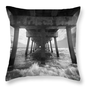 Juno Beach Pier Sunrise Seascape Black And White D8 Throw Pillow