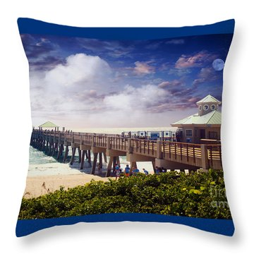 Juno Beach Pier Treasure Coast Florida Seascape Dawn C5a Throw Pillow by Ricardos Creations