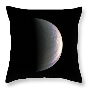 Throw Pillow featuring the photograph Juno Closing In On Jupiter's North Pole by Nasa