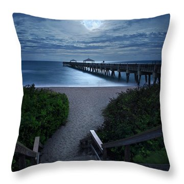 Juno Pier Stairs To Beach Under Full Moon Throw Pillow