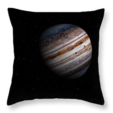 Jupiter And It 4 Major Moons Throw Pillow