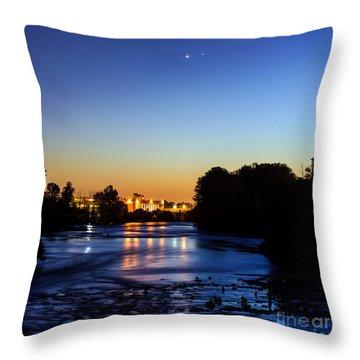 Jupiter And Venus Over The Willamette River In Eugene Oregon Throw Pillow