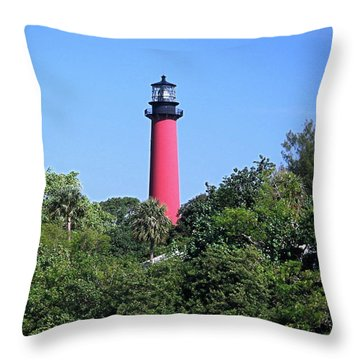 Jupiter Lighthouse Throw Pillow by Sally Weigand