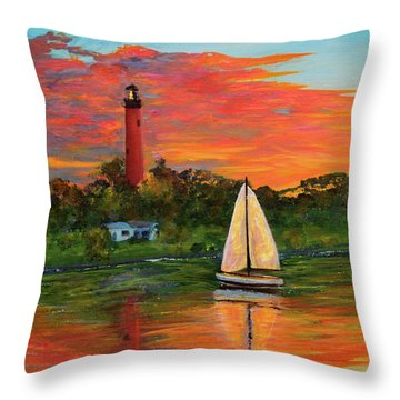 Jupiter Lighthouse Sunrise Alt Throw Pillow