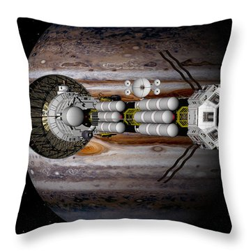 Throw Pillow featuring the digital art Jupiter Looming by David Robinson