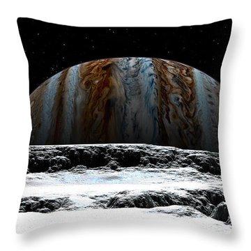 Jupiter Rise At Europa Throw Pillow