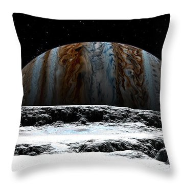 Throw Pillow featuring the digital art Jupiter Rise At Europa by David Robinson