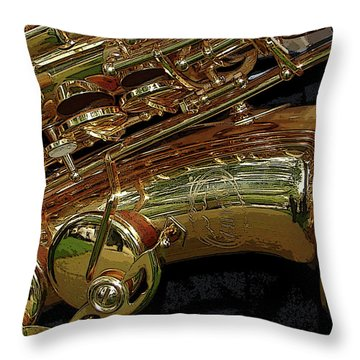 Jupiter Saxophone Throw Pillow by Michelle Calkins