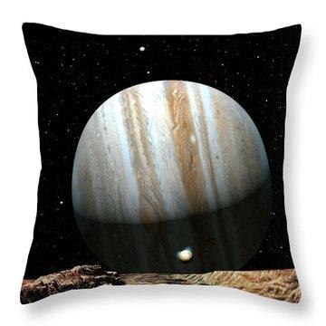 Jupiter Seen From Europa Throw Pillow