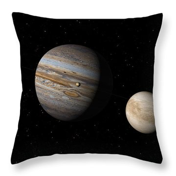 Throw Pillow featuring the digital art Jupiter With Io And Europa by David Robinson