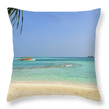 Just A Boat Ride Away Throw Pillow
