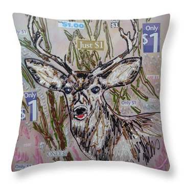 Throw Pillow featuring the painting Just A Buck by Lisa Piper