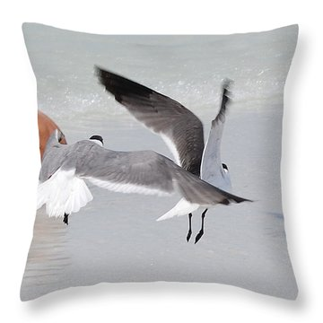 Just A Day At The Beach Jdabp Throw Pillow by Jim Brage