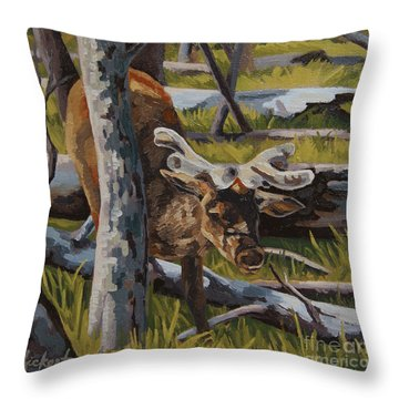 Throw Pillow featuring the painting Just A Peek by Erin Fickert-Rowland