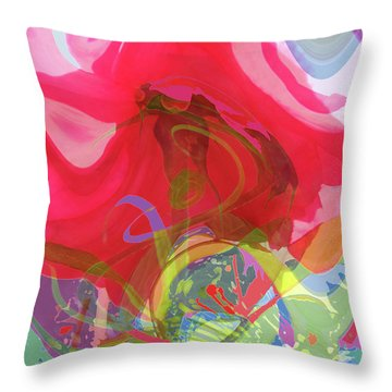 Just A Wild And Crazy Rose - Floral Abstract Throw Pillow