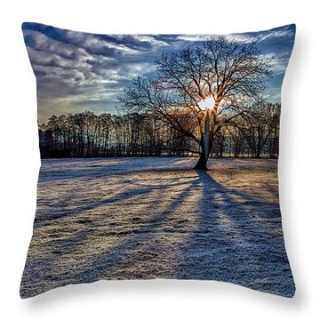 Just After Sunrise On A Cold Morning Throw Pillow