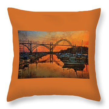 Just After Sunset On Yaquina Bay Throw Pillow by Thom Zehrfeld