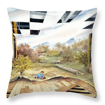 Just Another Unfinished Landscape Painting Throw Pillow