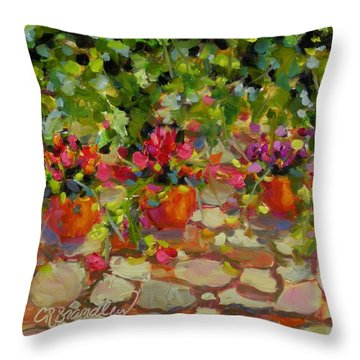 Throw Pillow featuring the painting Just Another Wall In Tuscany by Chris Brandley