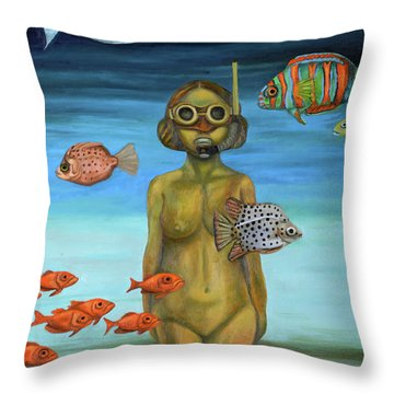 Throw Pillow featuring the painting Just Breathe by Leah Saulnier The Painting Maniac