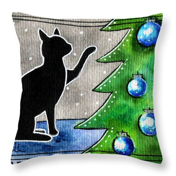 Just Counting Balls - Christmas Cat Throw Pillow