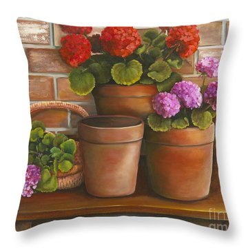 Throw Pillow featuring the painting Just Geraniums by Marlene Book