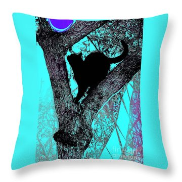 Fauve Cat And Moon Throw Pillow