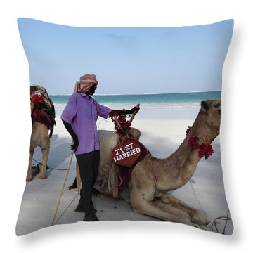 Just Married Camels Kenya Beach 2 Throw Pillow