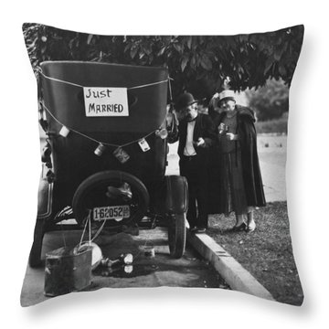 Just Married Silent Film Scene Throw Pillow